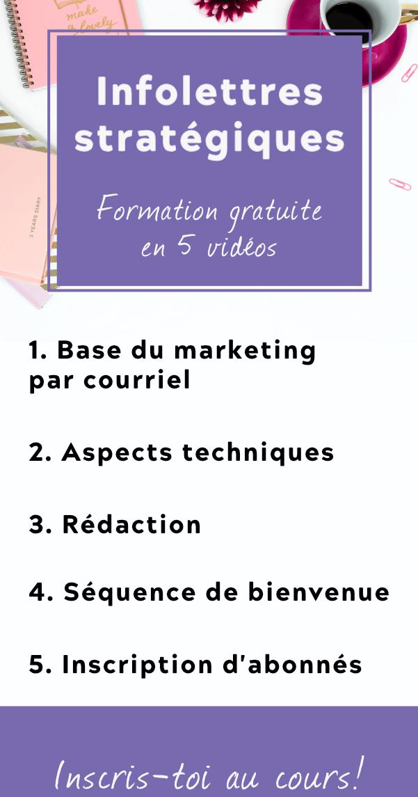 Bannière verticale faisant la promotion d'une formation en ligne gratuite pour apprendre la base du marketing par courriel et les aspects techniques