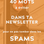 """image d'un feux de circulation au rouge et par dessus du texte indiquant """"40 mots à éviter dans ta newsletter pour ne pas tomber dans les spams"""""""
